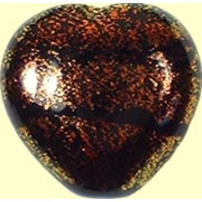 16mm Heart Dichroic Glass Burnt Red Black