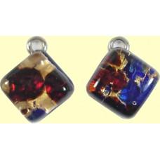 Pair Murano Glass Small Diamond Pendants