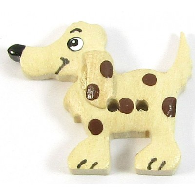 1 Wood Spotted Dog Button
