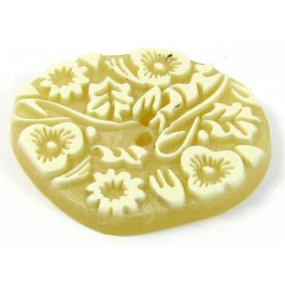 1 Acrylic Flower/Leaf Detail Button - Buttermilk Colour