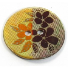 1 Mother of Pearl Copper-Orange Flower Button