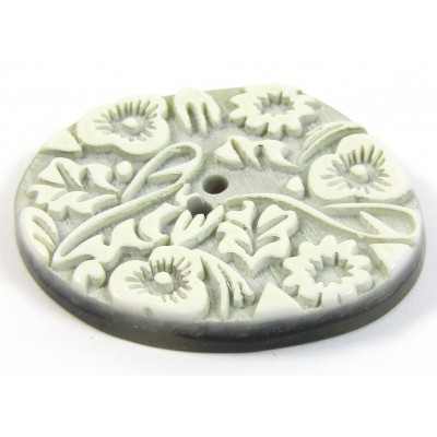 1 Acrylic Flower/Leaf Detail Button - Stone Colour