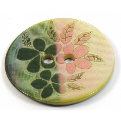 1 Mother of Pearl Green Flower Button