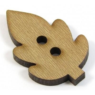 1 Wood Leaf Button