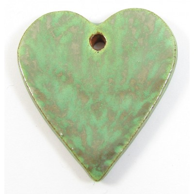 1 Funky Heart Porcelain Pendant - Verdigris
