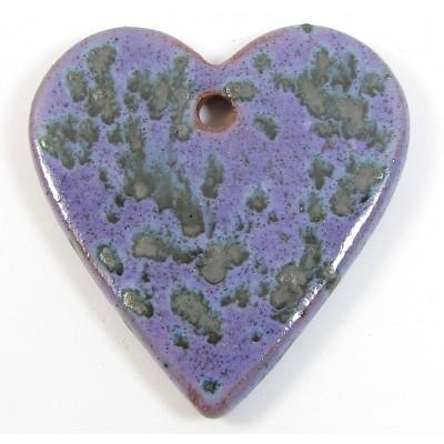 1 Funky Heart Porcelain Pendant - Speckled Violet