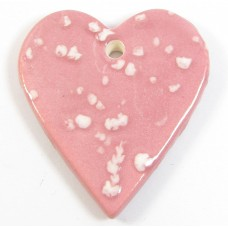 1 Funky Heart Porcelain Pendant - Candy Floss