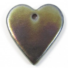 1 Funky Heart Porcelain Pendant - Oil Puddle