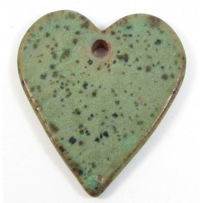 1 Funky Heart Porcelain Pendant - Crocodile