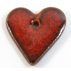 1 Porcelain Funky Heart Mini - Flame Red