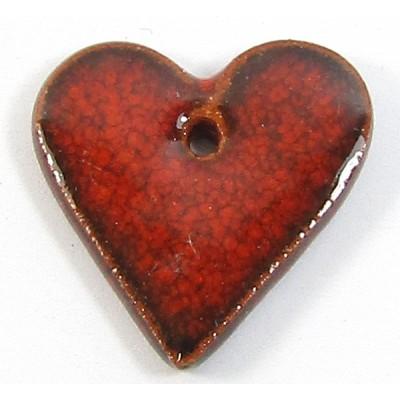 1 Porcelain Funky Heart Mini - Flame Red