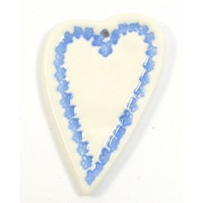 1 Blue Lace Heart Porcelain Pendant