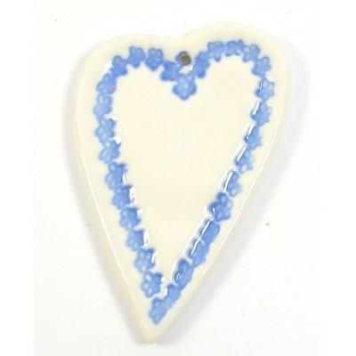 1 Blue Lace Heart Porcelain Pendant