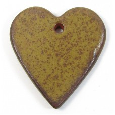 1 Funky Heart Porcelain Pendant - Coffee Bean