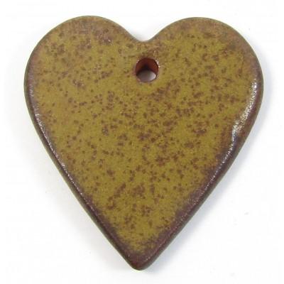 1 Funky Heart Porcelain Pendant - Coffee Bean