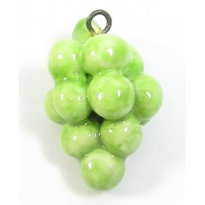 1 Handmade Handpainted Porcelain Green Grapes Bunch