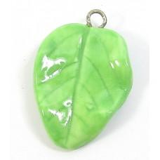 1 Handmade Handpainted Porcelain Green Leaf