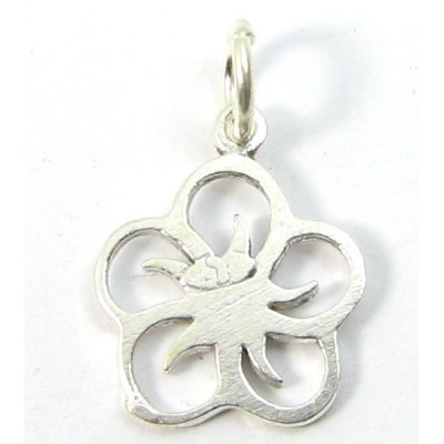 1 sterling silver Five Petalled Flower Charm with Jump Ring