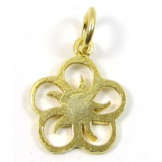1 Vermeil Five Petalled Flower Charm with Closed Ring