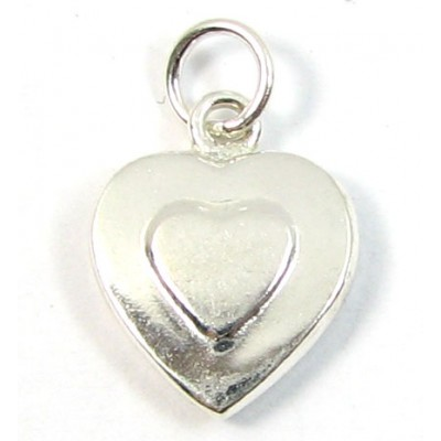 1 sterling silver Embossed Heart Charm
