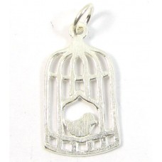 1 sterling silver Bird in a Cage Charm with Hanging Loop