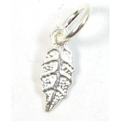 1 sterling silver Teeny Tiny Leaf Charm with Loop