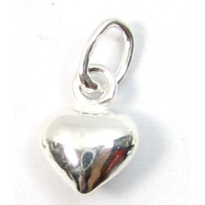 1 Sterling Silver Small Puffed Heart Charm