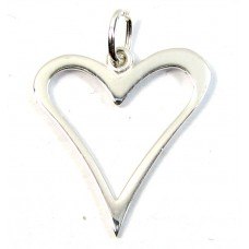 1 Sterling Silver Assymetric Open Heart Charm