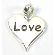 1 Sterling Silver Love Heart Charm