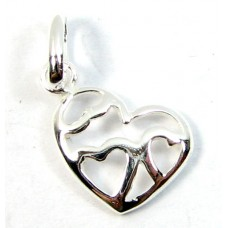 1 Sterling Silver Multi Heart Charm