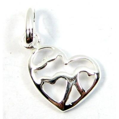 1 Sterling Silver Multi Heart Charm