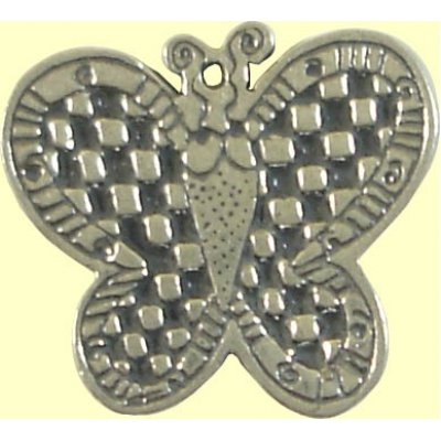 Sterling Silver Check Butterfly Charm