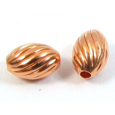 20 Pure Copper 3x5mm Fluted Design Oval Beads