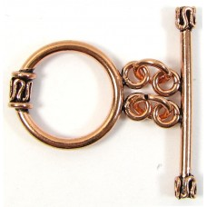 1 Large Double Ring Pure Copper Toggle Clasp
