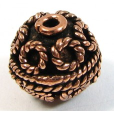 1 Pure Copper Filigree Round Bead