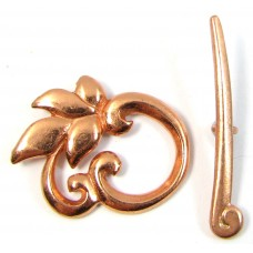 1 Pure Copper Swirl Leaf Toggle Clasp Set