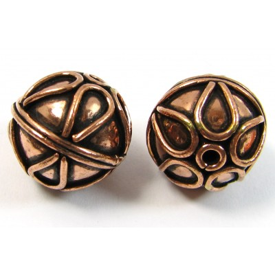 1 Pure Copper 16mm Patterned Bead