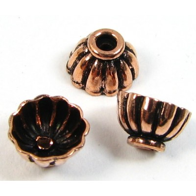 10 Antiqued Pure Copper 7x4mm Fluted Design Beadcaps
