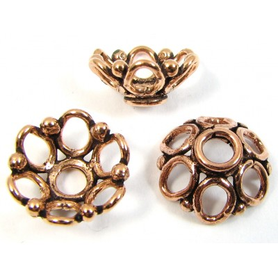 10 Antiqued Pure Copper 12x5mm Open Circles Design Bead Caps