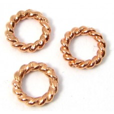 10 Pure Copper 6mm Rope Effect Closed Soldered Rings