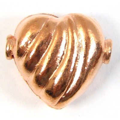 1 Pure Copper Heart Bead Hole Side to Side