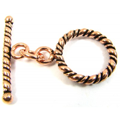 1 Pure Copper 15mm Twisted Rope Design Toggle and Bar Clasp