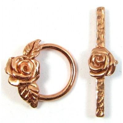 1 Pure Copper Flower Toggle Clasp