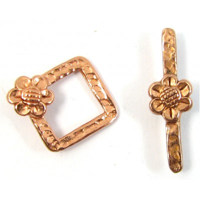 1 Pure Copper Diamond Shape Flower Toggle Clasp