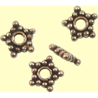 10 Antiqued Pure Copper Star Spacer Beads