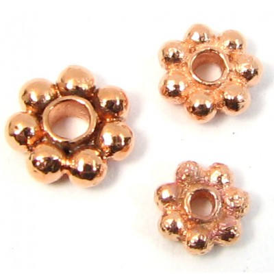 10 Pure Copper 6mm Daisy Spacer Beads