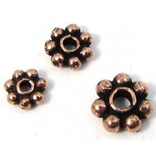 10 Antiqued Pure Copper 5mm Daisy Spacer Beads
