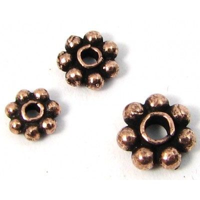 10 Antiqued Pure Copper 6mm Daisy Spacer Beads