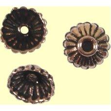 10 Antiqued Pure Copper 8x4mm Fluted Design Beadcaps