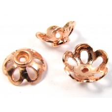 10 Pure Copper 7x4mm Filigree Design Beadcaps